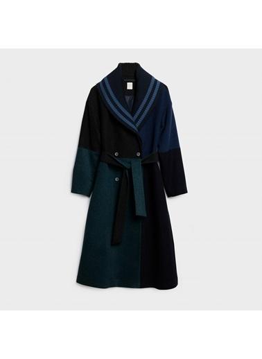 Yargıcı Blok Renkli Palto Lacivert
